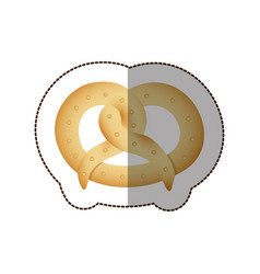 Colorful pretzel bread icon vector
