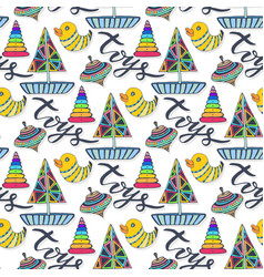 Colorful toys pattern childish cartoon seamless vector