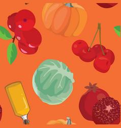 cranberry pumpkin cabbage oil pomegranate vector image