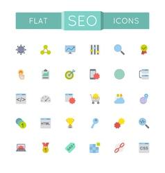 Flat SEO Icons vector image