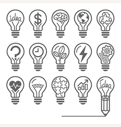 Light bulb concept line icons style vector image vector image