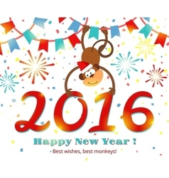 New Year 2016 monkey card vector image vector image