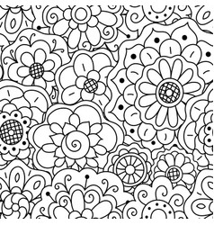 seamless pattern hand drawn floral doodle mandala vector image