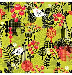 Seamless pattern with bird in the forest vector image vector image