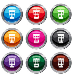 trash can set 9 collection vector image