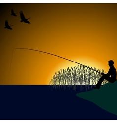 A fisherman on the lake-1 vector image vector image