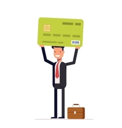 Businessman or manager of bank holding credit card vector image