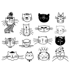 Cute cat heads set in hand drawn vector image