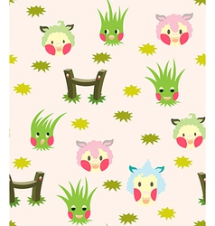 Lamb And Grass Story Pattern vector image vector image