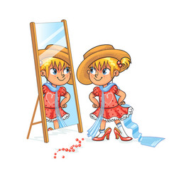 little girl fun trying her mothers shoes and hat vector image vector image
