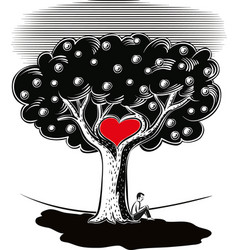 man sitting in the shade of the tree of love vector image vector image