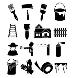 Paint worker icons set vector image vector image
