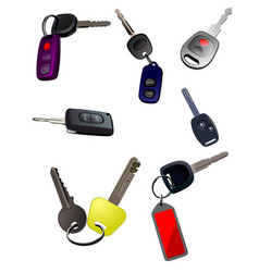 big collection of ignition car keys with remote vector image