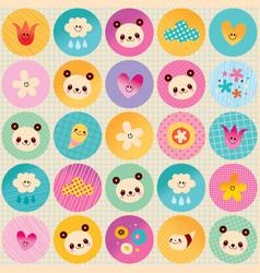circles pattern baby panda bears flowers clouds vector image vector image