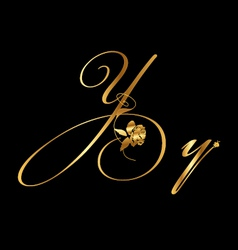 Gold letter y with roses vector image vector image