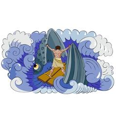 jon and fish vector image
