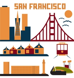 landmarks of San Francisco flat design vector image vector image