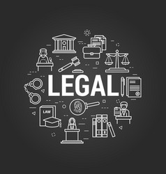 legal system on black vector image vector image