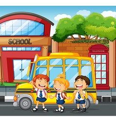 Students and school bus at the school vector image