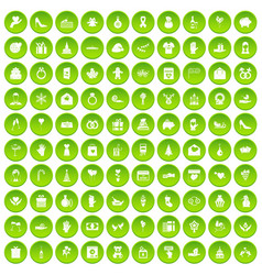 100 gift icons set green circle vector