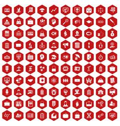 100 portfolio icons hexagon red vector