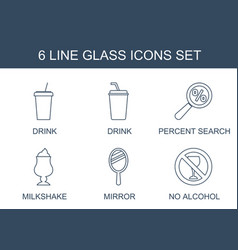 6 glass icons vector