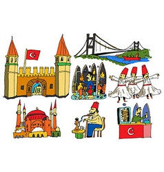 7 authentic caricatures of Turkish scenes vector image