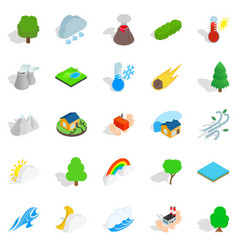 Affliction icons set isometric style vector