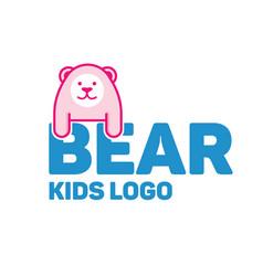 bear logo for kid and children vector image