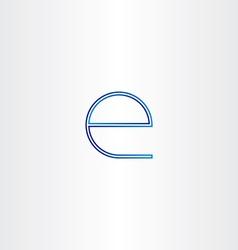 Blue small letter e line icon vector