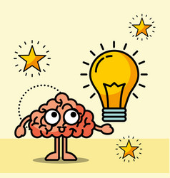 brain cartoon creative bulb idea vector image