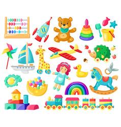 cartoon baby toys child toys bear doll logic vector image