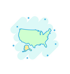 cartoon colored america map icon in comic style vector image