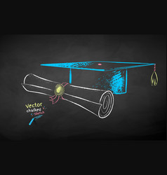 chalk drawn mortarboard and diploma scroll vector image