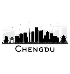 Chengdu city skyline black and white silhouette vector