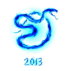 christmas card with blue fire snake on white vector image