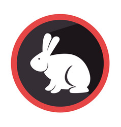 Circular shape with silhouette rabbit with long vector