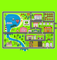 City landscape car track kids play mat vector