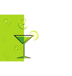 Cocktail green card with lemon vector