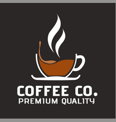 coffee co premium quality cup of coffee backgroun vector image