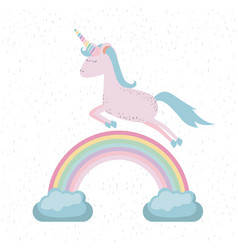 Colorful background with unicorn jumping over the vector