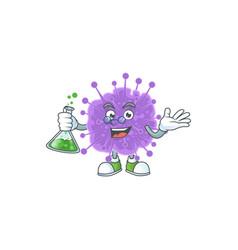 Coronavirus influenza brainy professor glass tube vector
