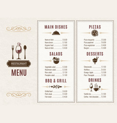 design template restaurant menu with place vector image