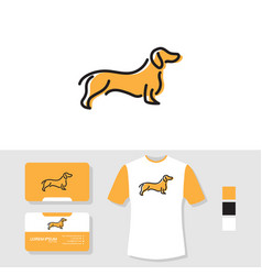 dog logo design with business card and t shirt vector image