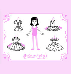 dress up paper doll in cartoon style vector image