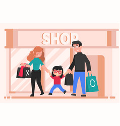 Family shopping leisure motherhood fatherhood vector