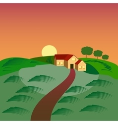 farm with house barn and green seeding field vector image
