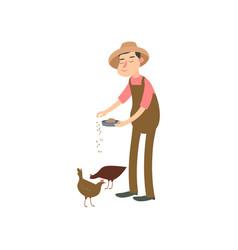 farmer is feeding the hen flat design farmers set vector image