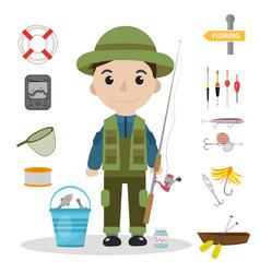 Fishing icon set flat cartoon style fishery vector