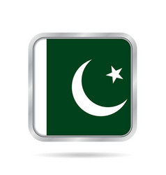 Flag of pakistan metallic gray square button vector